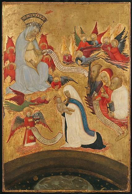 Santa Francesca Romana Holding the Christ Child, Antonio del Massaro da Viterbo (Italian, ca. 1450–ca. 1516), Tempera on wood, gold ground, inscriptions on parchment laid down on wood