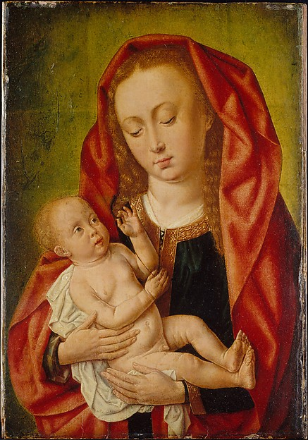 Virgin and Child with a Dragonfly, Master of Saint Giles (Netherlandish and French, active ca. 1500), Oil and tempera (?) on paper laid down on oak panel, Netherlandish and French