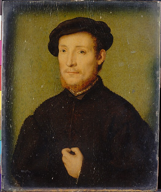 Portrait of a Man with His Hand on His Chest, Attributed to Corneille de Lyon (Netherlandish, active by 1533, died 1575), Oil on wood, Netherlandish