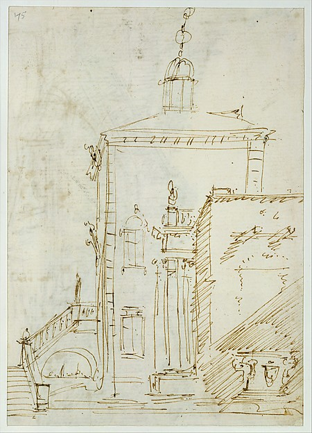 A Magnificent Pavilion by the Lagoon (recto); The Grand Canal, with the Rialto Bridge from the South (verso), Canaletto (Giovanni Antonio Canal) (Italian, Venice 1697–1768 Venice), Pen and brown ink, over traces of graphite