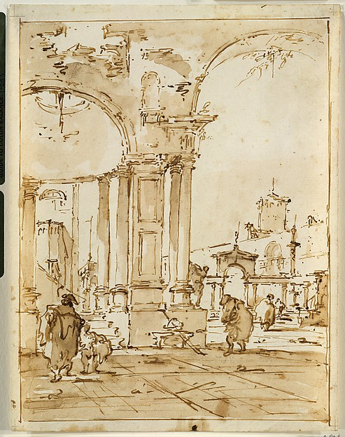 An Architectural Capriccio, with Classical Ruins, Francesco Guardi (Italian, Venice 1712–1793 Venice), Pen and brown ink, brown wash