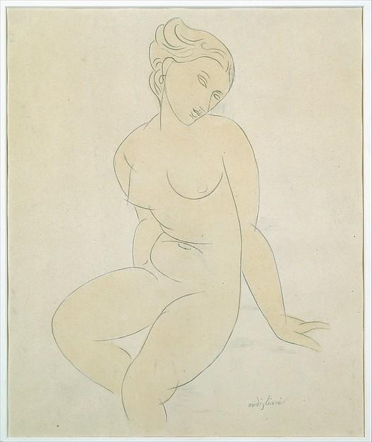 Seated Female Nude, Attributed to Amedeo Modigliani (Italian, Livorno 1884–1920 Paris), Graphite and watercolor wash on thick paper