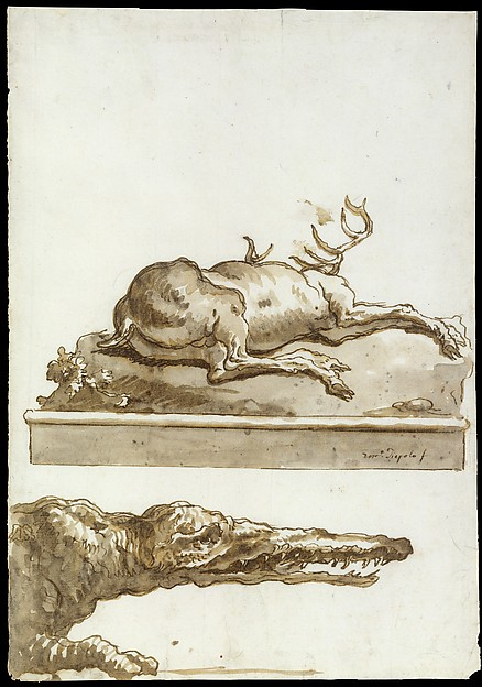 A Stag Lying Down (on a base): The Head of a Crocodile, Giovanni Domenico Tiepolo (Italian, Venice 1727–1804 Venice), Pen and brown ink, brown wash, over traces of black chalk
