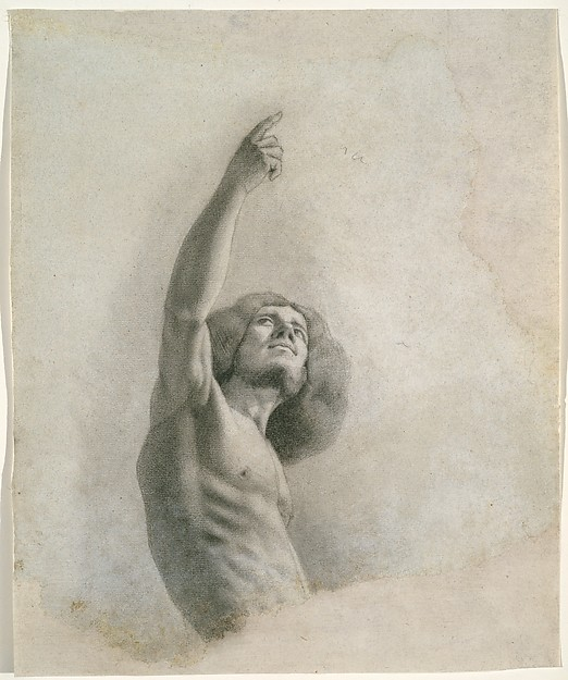 Self-Portrait with Upraised Arm, Gustave Courbet (French, Ornans 1819–1877 La Tour-de-Peilz), Black and white chalk over graphite on papier bleuté, relined.