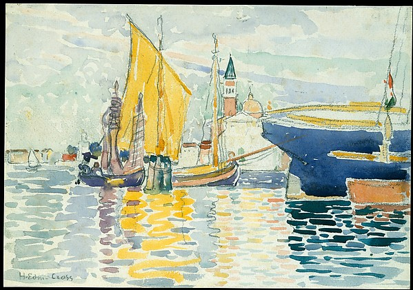 Venice-The Giudecca, Henri-Edmond Cross (Henri-Edmond Delacroix) (French, Douai 1856–1910 Saint-Clair), Watercolor, graphite, and charcoal on heavy, white wove paper