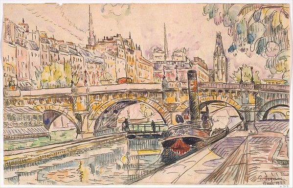 Tugboat at the Pont Neuf, Paris, Paul Signac (French, Paris 1863–1935 Paris), Watercolor and black crayon