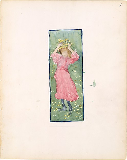 Large Boston Public Garden Sketchbook: A girl holding her hat, Maurice Brazil Prendergast  (American, St. John's, Newfoundland 1858–1924 New York), Watercolor over pencil, bordered in pencil and watercolor