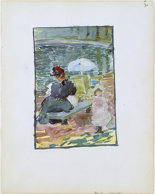 Large Boston Public Garden Sketchbook:  A mother sitting at the edge of a pond with her baby and a young daughter, Maurice Brazil Prendergast  (American, St. John's, Newfoundland 1858–1924 New York), Recto: watercolor over pencil, bordered in pencil and watercolor