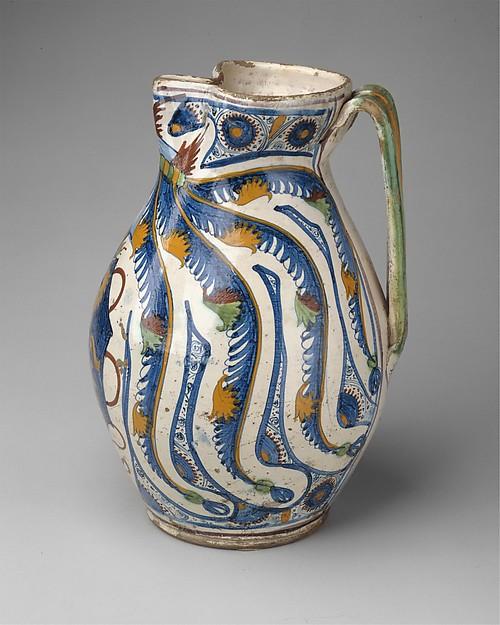 Armorial Jug (boccale), Maiolica (tin-glazed earthenware), Italian, Tuscany, Cafaggiolo or Montelupo
