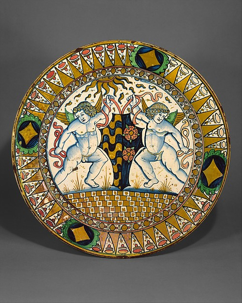 Dish (piatto), Maiolica (tin-glazed earthenware), Italian, Deruta