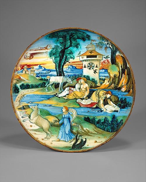 Dish (coppa), probably workshop of Guido Durantino (Italian, Urbino, active 1516–ca. 1576), Maiolica (tin-glazed earthenware), Italian, Urbino and Gubbio