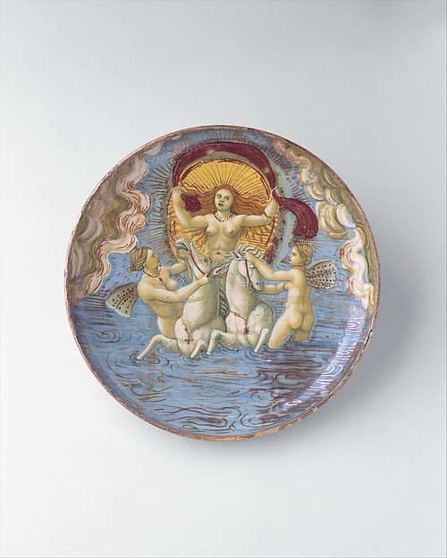 "Aurora, goddess of dawn, probably the ""In Castel Durante"" Painter (Italian, active Castel Durante, first half of 16th century), Maiolica (tin-glazed earthenware)"