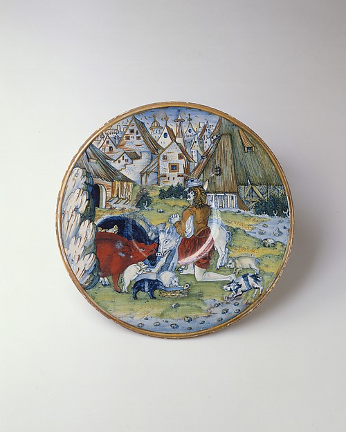 Plate (piatto): The Prodigal Son among the swine, workshop of Maestro Giorgio Andreoli (Italian (Gubbio), active first half of 16th century), Maiolica (tin-glazed earthenware)