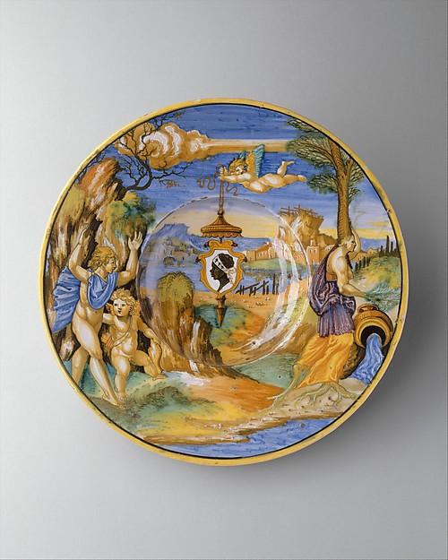 Armorial dish: The story of Apollo, Francesco Xanto Avelli da Rovigo (Italian, Rovigo ca.1487–1542), Maiolica (tin-glazed earthenware)