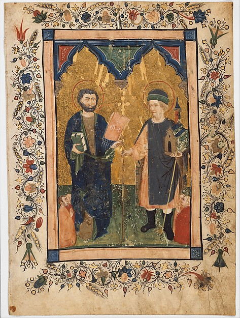 Saint Mark the Evangelist and Saint Sinibaldus Venerated by Members of a Lay Confraternity, Cristoforo Cortese (Italian, Venice, active ca. 1390, died before 1445), Tempera and gold on parchment