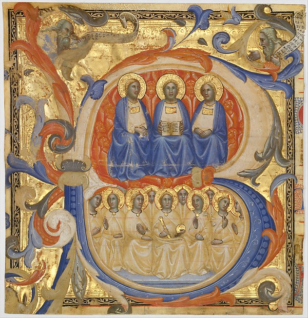 The Trinity in an Initial B, Master of the Codex Rossiano (Sienese, active ca. 1380–1400), Tempera and gold on parchment, Italian, Siena