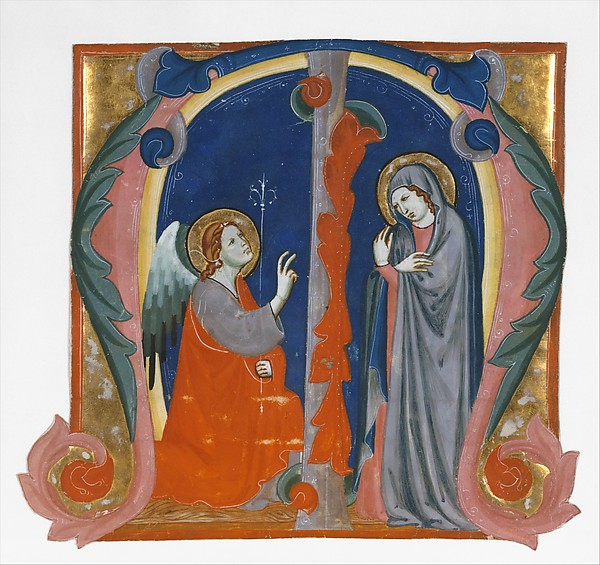 Annunciation in an Initial M, Maestro Daddesco (Italian, Florence, active ca. 1320–40) (?), Tempera and gold on parchment