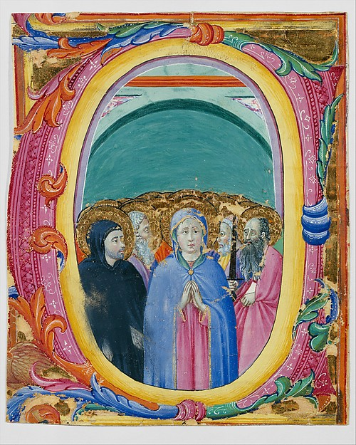 All Saints in an Initial E or O, Osservanza Master (Italian, Siena, active second quarter 15th century), Tempera and gold on parchment, Italian, Siena
