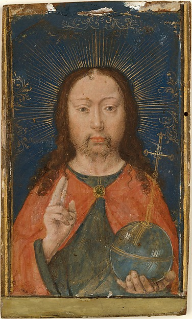 Holy Face, Gerard David (Netherlandish, Oudewater ca. 1455–1523 Bruges), Tempera and gold leaf on parchment that has been trimmed and laid down on thin walnut