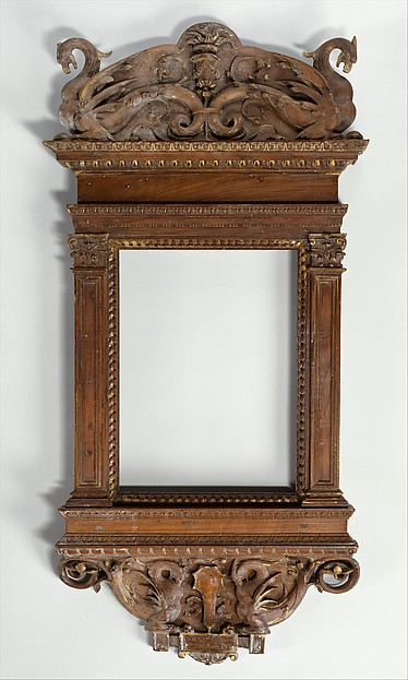 Tabernacle frame, possibly del Tasso workshop, Walnut. Carved, luminolegno., Italian
