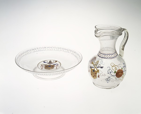 Armorial jug, Colorless (slightly gray) nonlead glass. Blown, enameled, gilt., Italian (Venice)