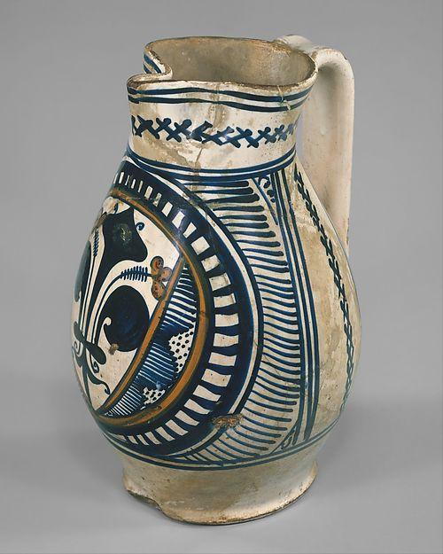 Armorial jug (boccale), Maiolica (tin-glazed earthenware), Italian, possibly Florence or Faenza