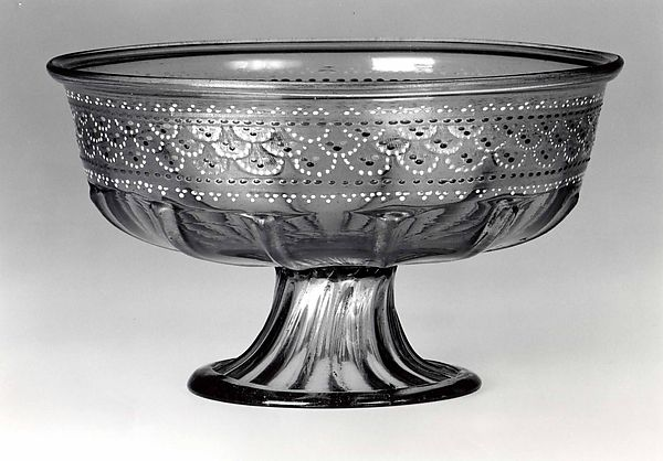 Footed bowl, Colorless (purplish gray) nonlead glass. Blown, pattern molded, enameled, gilt., Italian (Venice)