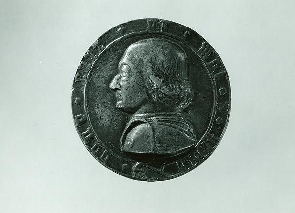 Medal:  Federigo da Montefeltro, Follower of Filarete (Antonio di Pietro Averlino) (Italian, Florence ca. 1400–ca. 1469 Rome), Bronze (Copper alloy with brown to green patina with traces of black wax).
