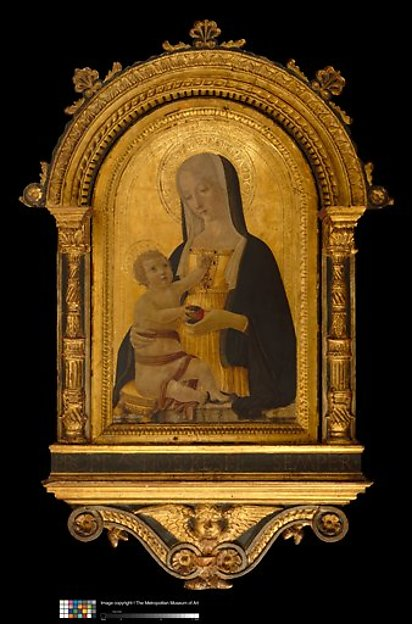 Engaged arched cassetta frame and arched tabernacle frame, Poplar. Carved, gilt; orange-red bole, blue and white color, all over greenish tone., Sienese