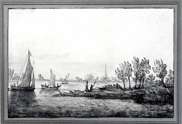 River Landscape with Sailboats, Aelbert Cuyp (Dutch, Dordrecht 1620–1691 Dordrecht), Black chalk and gray, yellow, and grayish green wash; traces of a colorless varnishlike substance (probably gum arabic) on the grayish green wash toward the right; brown framing lines at the top and bottom and dark brown framing lines at the sides.