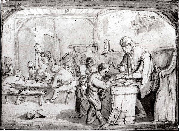 The Schoolmaster, Cornelis Dusart (Dutch, Haarlem 1660–1704 Haarlem), Pen and brown ink, brush and gray wash.