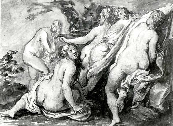 Nymphs Suprised, School of Jacob Jordaens (Flemish, Antwerp 1593–1678 Antwerp), Brush and brown and gray ink, brown and gray washes over red chalk and traces of black chalk, some blue chalk.