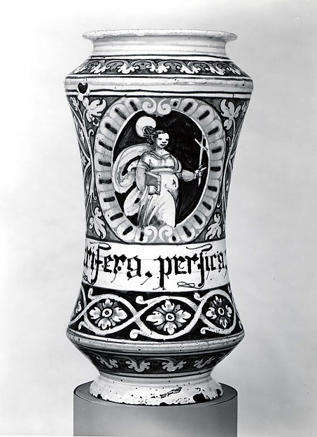 Apothecary jar (albarello), Maiolica (tin-glazed earthenware), Italian, probably Faenza