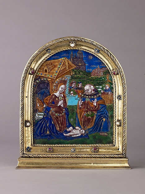 Nativity, Painted enamel, partly gilt, on copper; silver-gilt frame set with pearls, gemstones, and ronde-bosse enamels., probably French
