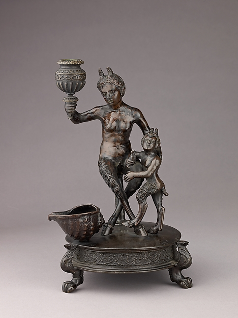 Satyress and her Infant, Workshop of Severo Calzetta da Ravenna (Italian, active by 1496, died before 1543), Indirect cast; copper alloy, dark brown with areas of black patina.