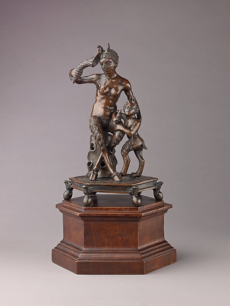 Satyress and her Infant, Workshop of Severo Calzetta da Ravenna (Italian, active by 1496, died before 1543), Bronze, light reddish brown patina.