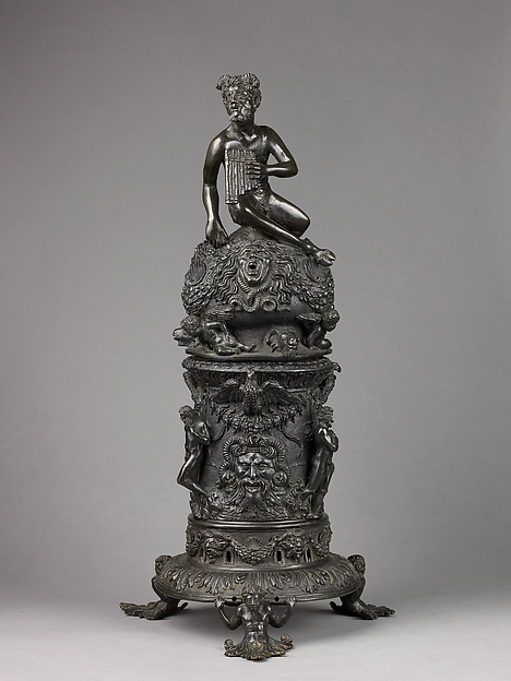 Perfume Burner Surmounted by a Satyr, Workshop of Desiderio da Firenze (Italian, born Florence, active Padua, 1532–45), Binary alloy (copper, tin, with traces of zinc, iron, nickel, silver, and antimony); a brown to olive green patina and minor traces of gilding.