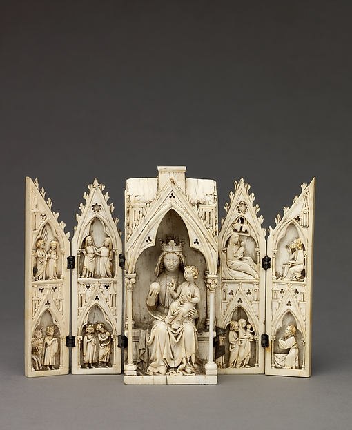 Tabernacle Polyptych with the Madonna and Child and Scenes from the Life of Christ, Ivory with traces of original gilding and polychromy; silver hinges., Northern France (?)