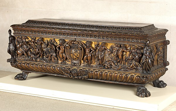 Cassone (chest), pair with 1975.1.1940, Walnut, carved and partially gilded; coniferous wood., Italian (Rome or Siena?)