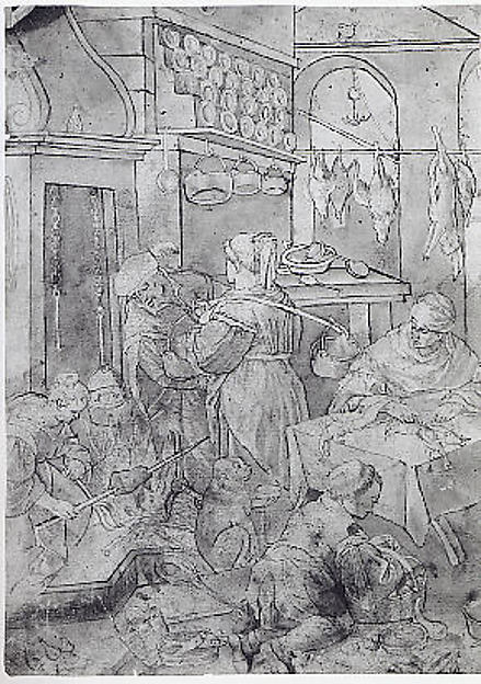 Kitchen Scene, Copy after Leandro (?) Bassano (1557–1622), Pen and brown ink, brown wash, Italian