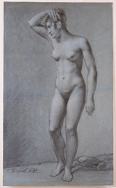 Study for Cupid and Psyche, Assistant or Pupil of Pierre Paul Prud'hon (French, Cluny 1758–1823 Paris), Black and white chalk with some charcoal on papier bleuté (woven)